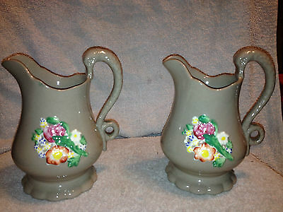 A Pair of Antique Victorian Staffordshire Jugs with Serpent Handles