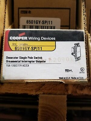 Cooper 6501GY-SP/11  Decorator Single Pole Switch Gray Box of 6