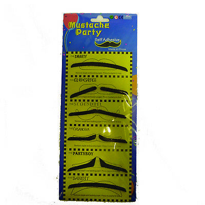 Stick on Fake Mustache Self Adhesive Party Joke Pack of 6 Black spiv thin line