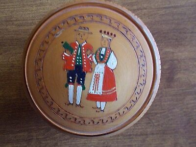 Vintage Norwegian Trinket Box Hand Painted With Wood Burning Accents Excellent