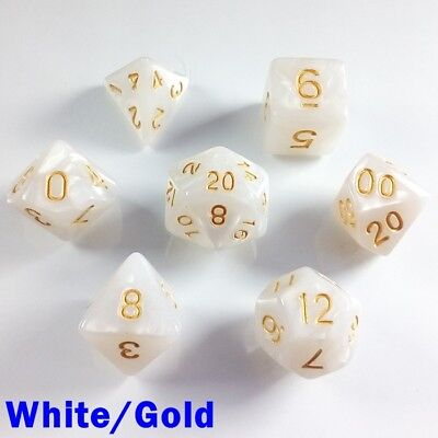 Pearl Poly 7 Dice RPG Set White Gold Pathfinder 5e Dungeons Dragons D&D DND HD