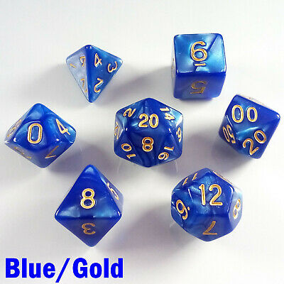Pearl Poly 7 Dice RPG Set Blue Gold Pathfinder 5e Dungeon Dragon D&D Roleplay HD
