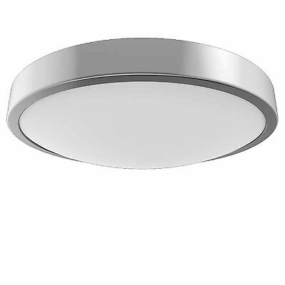 PowerSave LED Flush Silver Bathroom Ceiling Light Fitting IP44 Rated Zone 1 2 3