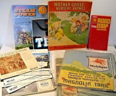 Large Vintage Paper Lot 9 Mobil Gas Calendars, Steam Power, Shell Maps,texas...