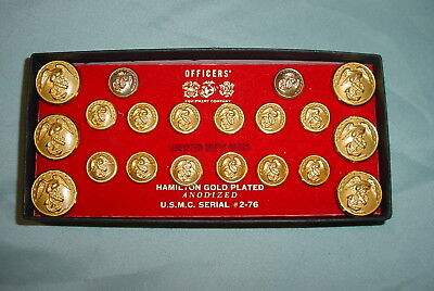 USMC Officers Equipment Co. complete set 24K gold plated military buttons in box