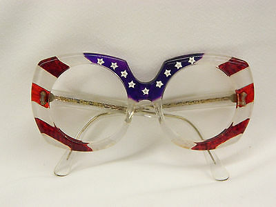 AWESOME 1976 Americana Bicentennial Red White Blue Vanity Optical Eyeglasses!