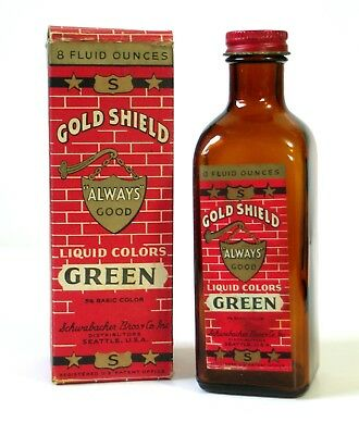 Vintage GOLD SHIELD Food Coloring GREEN 8 Ounce Orig BOX & BOTTLE Seattle WA