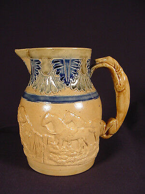 RARE 1800s AMERICAN HOUND HANDLE RAISED RELIEF HUNT PITCHER YELLOW WARE MINT