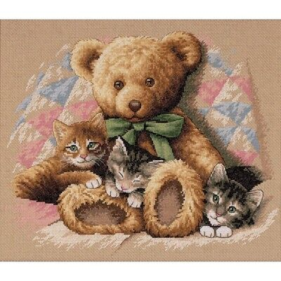 "DIMENSIONS ""TEDDY AND KITTENS""CROSS STITCH KIT  Kreuzstich-Stickpackung  36х30"