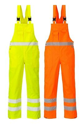 Portwest Hi Vis Bib & Brace Unlined Waterproof Rain Trousers Coverall S388