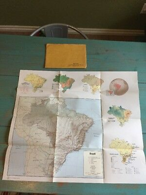 """1973 Map Of Brazil 22.5""""x26"""" By The Central Intelligence Agency W/ Envelope"""