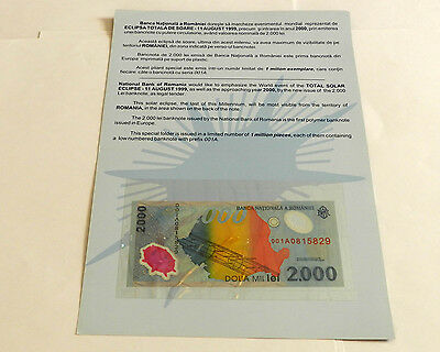 10 (Ten) Romania 2000 Lei Banknotes for 1999 Eclipse, in Souvenir Folders