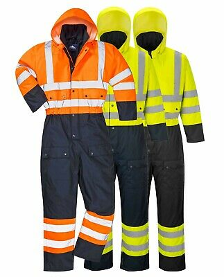 Portwest Hi Vis Contrast Coverall Winter Lined Waterproof Thermal Cold S485