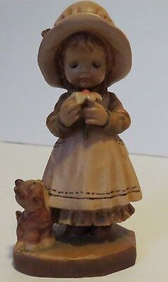 "Anri Wood Carving Girl w/Flower & Cat 4"" - #2285/4000"