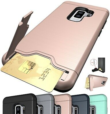 Hybrid Card Holder Stand Case For Samsung Galaxy S7 S8 S9 S10 Plus Hard Cover