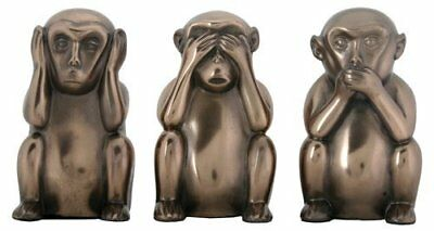 3 Inch Hear, See, and Speak No Evil Monkeys Statues, Pack of Three
