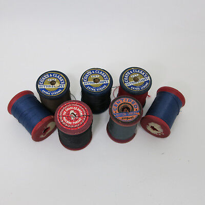 7 Vintage Clarks Centiped Charles Brown Button and Carpet  Heavy Thread Spools
