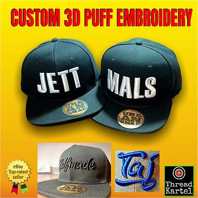 Custom 3D Puff Personalised Embroidered Black cap