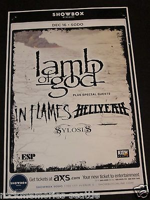 Lamb of God 2012 Org Concert Gig Poster In Flames Sylosis Hellyeah