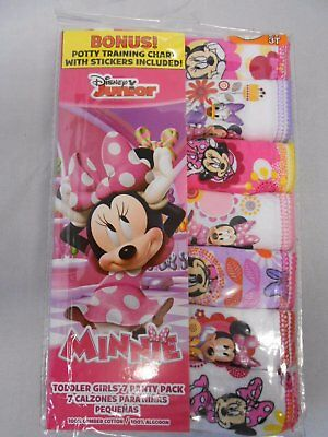 Minnie Mouse Panties Toddler Girls' 7-pack Briefs Sizes 2T/3T, 4T