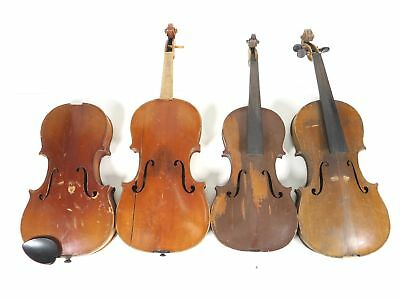 AS-IS Antique Broken Violin Lot of 4 for parts/repair Luthier