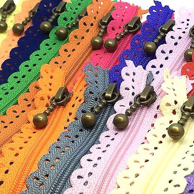 20 x Assorted Nylon LACE Closed End Zips - Floral Zipper for Crafts