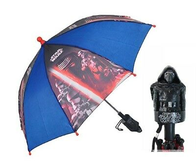 New Disney Kids' Star Wars Stick Blue Umbrella with Character Handle NWT