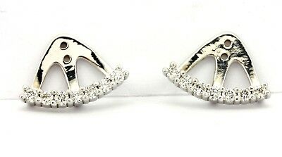 14k White Gold Drop Dangle Earring Jackets 0 43 Ctw Round Brilliant Diamonds New