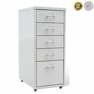 Mobile 5 Drawer Metal Filing Cabinet Office Document Storage Organizer  Trolley