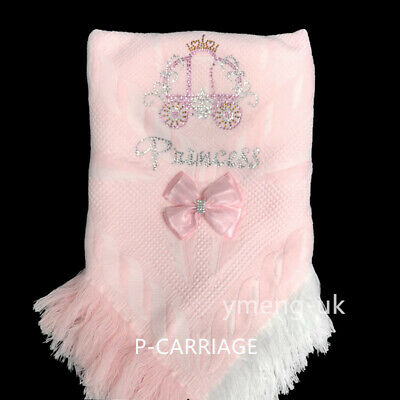 Gorgeous Baby Girl Princess Shawl With Diamante Carriage Pattern/Detachable Bow