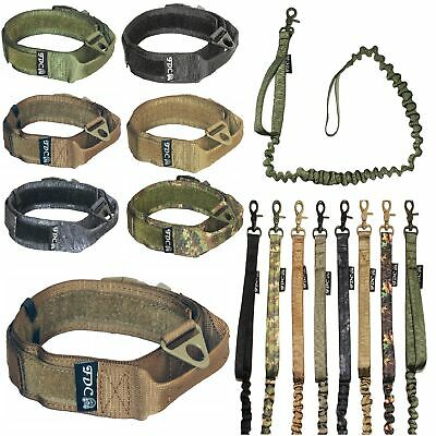 Dog Tactical COLLAR Handle Molle Training LEASH Military K9 HOOK & LOOP sz M-XXL