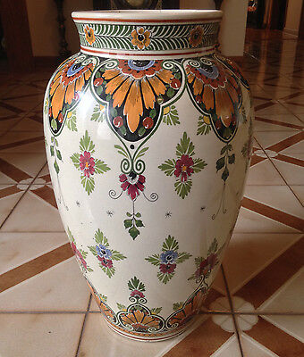 "Antique IVORA GOUDA Holland Huge  Large 20"" Floor Vase 202/3"
