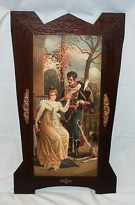 Vintage or Antique Soldier & Victorian Lady Print Wood Picture Art Frame