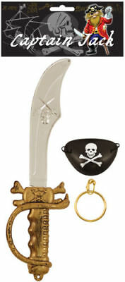 Kids Pirate SWORD EARRING & EYEPATCH Fancy Dress Set Cutlass Eye Patch Party Toy