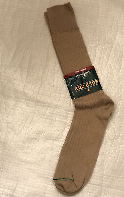 Vintage 1970's GOLD CUP Dress Socks Crew Tan Green Stripe One Size USA NEW