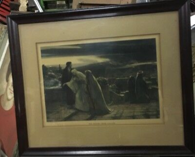 Vintage Print Painted And Signed Herbert Schmalz The Return From Calvary