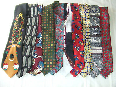 Men's Lot of 8 Piece100% Silk and 2 Poly Classic Mixed Ties Most From Italy