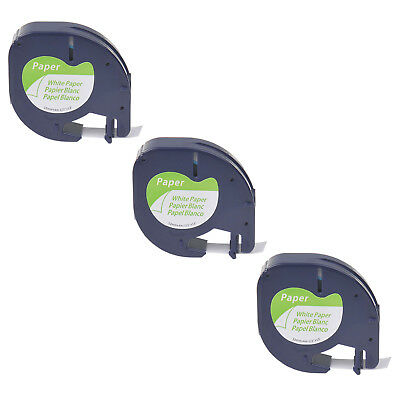 3PK Black on White Paper Label Tape for DYMO Letratag LT 91330 QX50 LT100T 1/2''