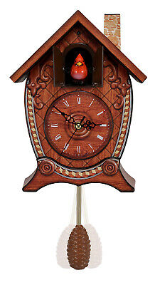 Red Bird Winter Cabin Cuckoo Clock Plays Beautiful Cardinal Song on hour Boxed