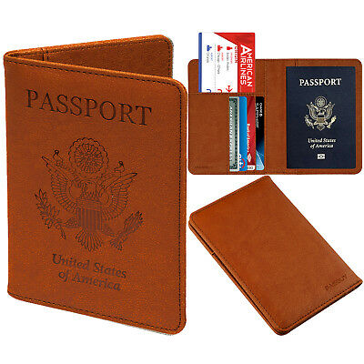 PASBUY PU Leather Passport Holder Protective RFID Blocking Wallet Case Brown