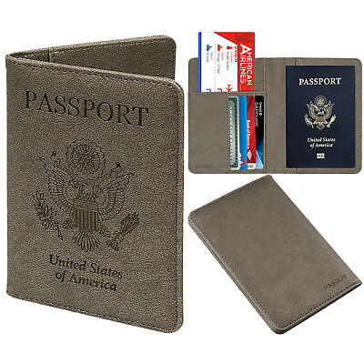 PASBUY PU Leather Passport Holder Protective RFID Blocking Wallet Case Gray