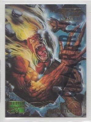 1995 Fleer Marvel Masterpieces SABRETOOTH E-Motion Parallel Gold Signature Card