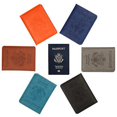 Passport Holder PU Leather  Cover Case Protective RFID Blocking Wallet Case