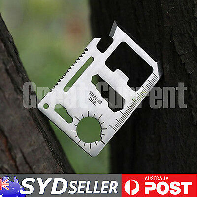 Camping Outdoor Tool Multi Keying Bottle Opener Pocket Saw Army Knife Ruler DIY