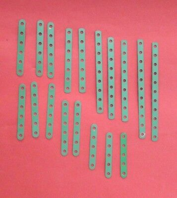 Meccano - Light Green Narrow  Strips - Good overall with minimum paint loss