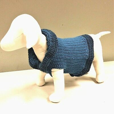 Two Blue Dog Sweater Hand Crocheted Knit Toy Breed Doggies Puppy Doggy Clothes