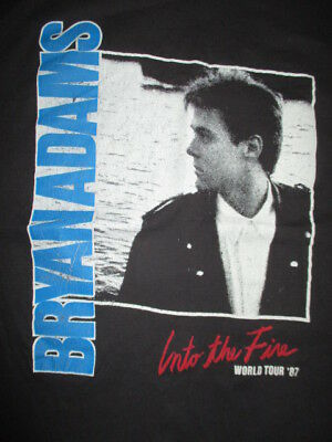 Vintage Tee Jays Label 1987 BRYAN ADAMS Into the Fire Concert Tour (MED) T-Shirt