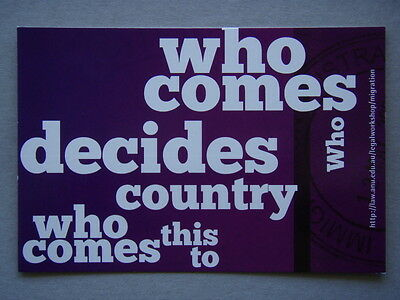 Avant Card #14285 2010 Who Comes Decides Who Comes To This Country Law Postcard