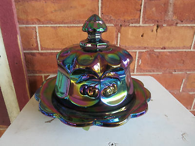 Mosser Glass Amethsyt Cherry & Cable Butter Dish