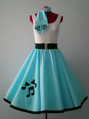 "ROCK N ROLL/ROCKABILLY ""Music Notes"" SKIRT-SCARF S-M Sky Blue."